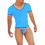 Icker Sea Contrast Trim V Neck Short Sleeved T Shirt Blue/Black CA-16-42