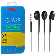 DKM Inc 25D HD Curved Edge Flexible Tempered Glass and Hybrid Noise Cancellation Earphones for Samsung Galaxy E7