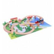 Set Joc pentru Copii Pista din Lemn cu Masinute Accesorii si Covoras Interactiv 50 Piese