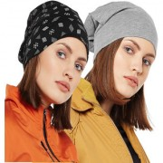 Vimal-Jonney Printed Black And Melange Grey Beanie Cap For Women(Pack Of 2)