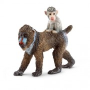 Schleich Female Mandrill Toy Figure with Baby