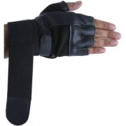 CP Bigbasket Gym Gloves - Black with Net with Wrist Strap(Black Gym Glove)