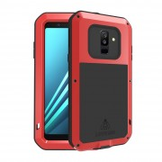 LOVE MEI Dust-proof Shock-proof Splash-proof Defender Mobile Phone Casing for Samsung Galaxy A6 Plus (2018) / A9 Star Lite - Red