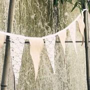 Burlap And Lace Triangle Falg Banner 9.8 Feet