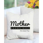 MOTHER Knows Best Personalized Mothers Day Plush Decorative Cushion