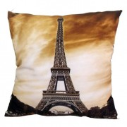 Almofada Impressão Digital Paris Torre Eiffel III Marrom 42x42cm Uniart