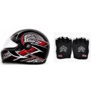 Combo Knighthood Half Hand Grip for Bike (Black) + Stylish ISI Mark Helmet