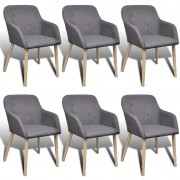 vidaXL Dining Chairs 6 pcs with Oak Frame Fabric