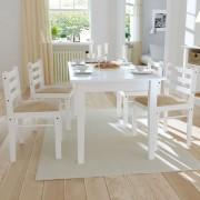 vidaXL Matstolar i trä fyrkantig design vit 4 st