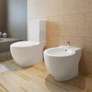vidaXL Set vas de toaletă și bideu din ceramică, alb
