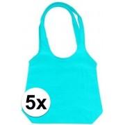 5 x Turquoise opvouwbare tassen met hengsels 43 x 41 cm- Shoppers