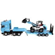 Damara Tablet Trailer+Bulldozer Vehicle Toy Set,Blue