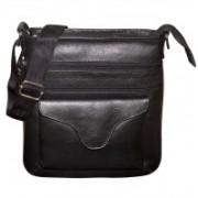 Kan Men & Women Black Genuine Leather Messenger Bag