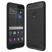 Huawei P10 Lite Brushed TPU Case - Carbon Fiber - Black