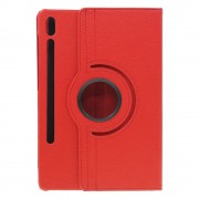 Shop4 - Samsung Galaxy Tab S6 Hoes - Rotatie Cover Lychee Rood
