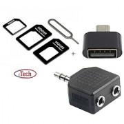 Super Combo Of Mini OTG Mini Audio Splitter and Noosy SIM Adapter (Assorted Color)