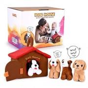 HAKOL Juguete educativo con 4 cachorros apretados y ladridos Compacto, suave, felpa, abrazable Desarrolla habilidades motoras finas, promueve el aprendizaje y la empatía, fomenta el juego imaginativo