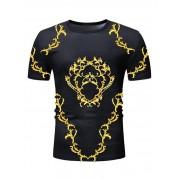Rosegal T-shirt Imprimé Manches Longues à Col Rond 3XL