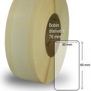 Etiketter på rulle, plast, högblanka för bläck, 50 mm bärbana, 30 x 60mm, 2000 st