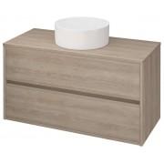 Mobilier baie Crea, pentru lavoar, cu doua sertare, pe blat/incastrat, stejar, asamblat, 99.4x45x53 cm