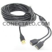 USB 2.0 Extension Cable AM a 2 AH con alimentación de 15m