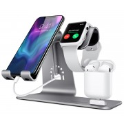 BESTAND 3-in-1 Apple iWatch Stand + Airpods Charger Dock + Cell Phone Desktop Tablet Holder - Grey
