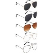 NuVew Aviator Sunglasses(Black, Blue, Brown, Golden, Clear)