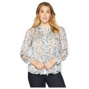 Vince Camuto Plus Size Long Sleeve Ruffle Front Boutique Floral Blouse Antique White
