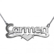 Personalized Men's Jewelry Silver Block Print Heart Name Necklace 101-01-070-02