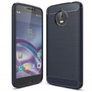 Para Motorola Moto E4 Plus (EU Version) Textura Cepillada De Fibra De Carbono Funda Protectora TPU Resistente Armadura A Prueba De Golpes (Navy)