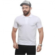 Kundan's Exclusive for Men's 100% Pure-Cotton Polo Neck White Color T-Shirt