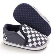 myppgg Zapatillas de lona para bebés y niños y niñas, antideslizantes, suela suave, sin cordones para niños, Azul oscuro., 12-18 Months Toddler