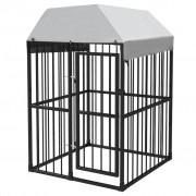 vidaXL Padoc pentru câini de exterior, cu acoperiș, 120 x 120 cm