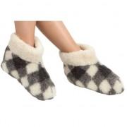 Woolwarmers Geblokte wollen sloffen/pantoffels voor dames/heren 37 - Pantoffels