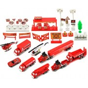 Emergency Fire Department Rescue 40 Piece Mini Diecast Toy Vehicle Playset w/ Variety of Vehicles, A
