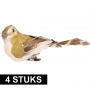 Geen 4x Decoratie vogels op clip groen/wit 9 cm