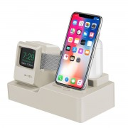 3-in-1 Retro Silicone Stand Holder for iPhone/Apple Watch/Airpods - Beige