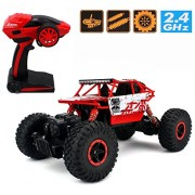 2.4G 4CH 4 Wheel Drive Rock Crawlers 4x4 Monster Driving Truck Double Motors Drive Off-Road Remote Control Climbing Rock Crawler Car (Red)