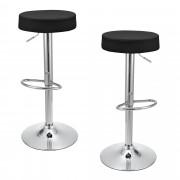 [en.casa]® Bárszék Miskolc 2 darab kárpitozott műbőr kerek konyhai szék forgatható állítható magasság fekete