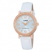 Lorus Montre-bracelet Lorus RG202JX-9 White Leather Strap Quartz/Acier inoxydable/Or Rose