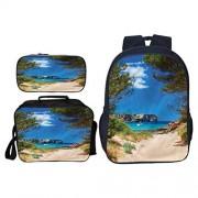 Cameon Mochila escolar de viaje en Santorini, ideal para actividades en interiores y exteriores,, Multi07, W11.02xH17.32In