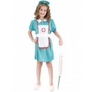 Vegaoo Krankenschwester Mädchenkostüm türkisfarben-weiss-rot