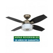 Hunter Ventilador De Techo Con Luz Hunter 50619 Central Park Roble O Roble Oscuro / Plata