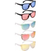 NuVew Wayfarer, Shield Sunglasses(Blue, Orange, Green, Red, Golden, Yellow)