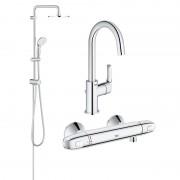 Pachet coloana dus Grohe New Tempesta 200, crom, montare pe perete, plus baterie termostat Grohtherm 1000 New, plus Baterie lavoar inalta Eurosmart New, marimea L (27389002, 34143003, 23537002)-Div-200-Gro14