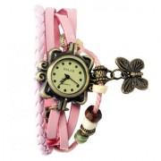 Mettle Fancy L-Pink Leather Hand Knit Butterfly Vintage Watches Dress Bracelet Women Girls Ladies Clover Pendant Retro.