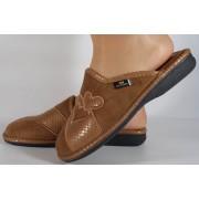 Papuci de casa maro din plus dama/dame/femei (cod BECKY)