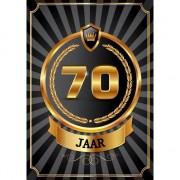 Merkloos Decoratie poster 70 jaar zwart en goud
