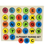 English Alphabet ABC Tray - Upper Case and Lower Case Matching - Wooden Jigsaw Puzzle Toy - Learning & Educational Gift for Kids