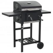 vidaXL Gril de barbecue au charbon de bois et étagère inférieure Noir